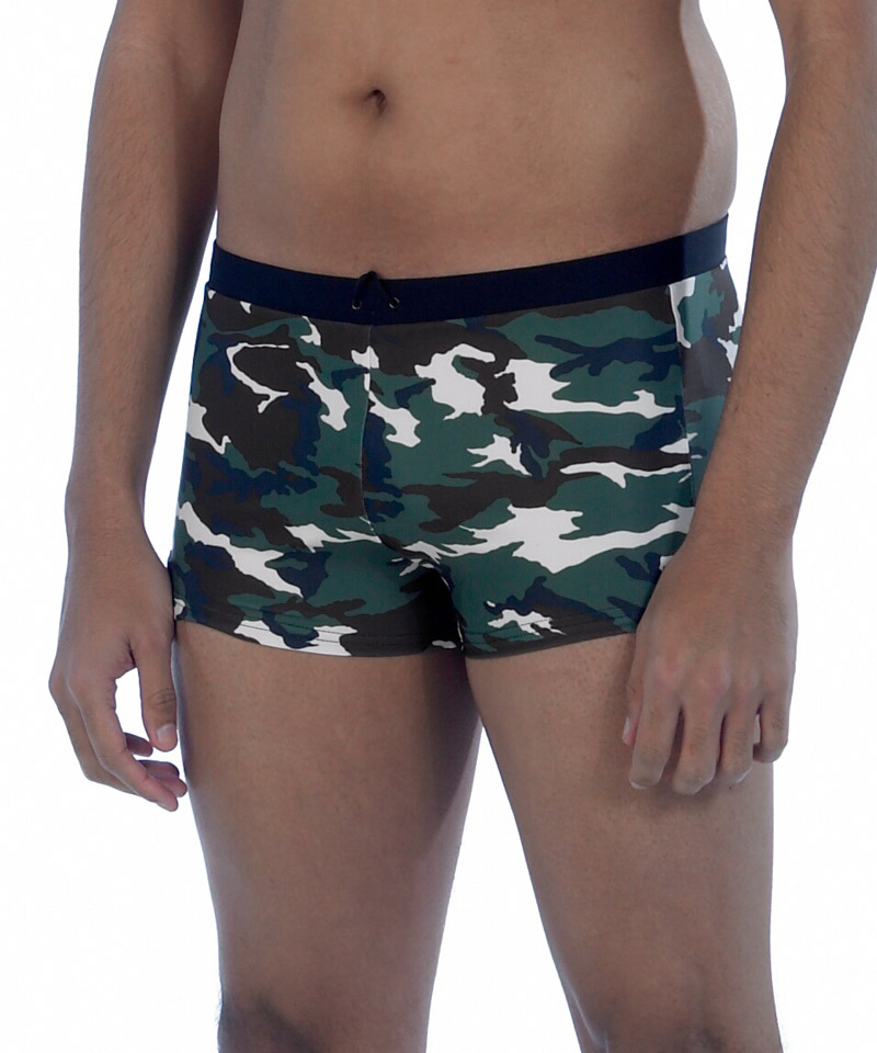 7918aa6632 Green camouflage men's swimming trunks