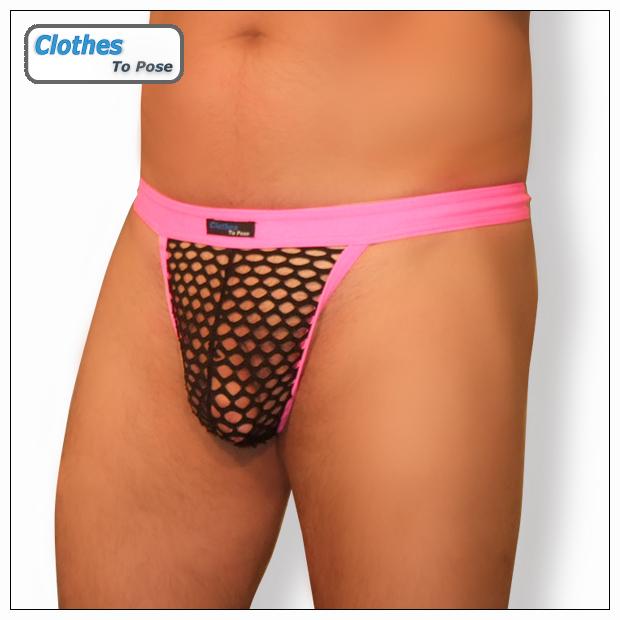 Mens G String - Hot Pink - Black Mesh 5cb34fcfb0df