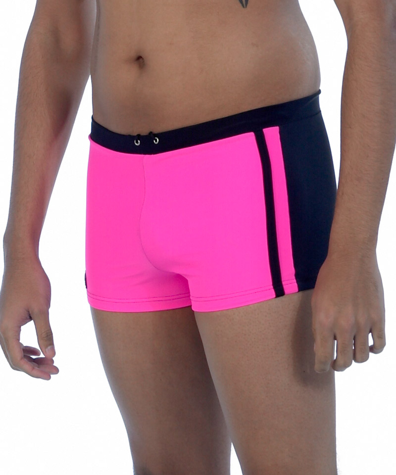 550729bf43045 Hot Pink   Black Mens Swim Trunks